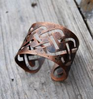 Distressed Copper Knotwork Bracelet by Wyrdhaven
