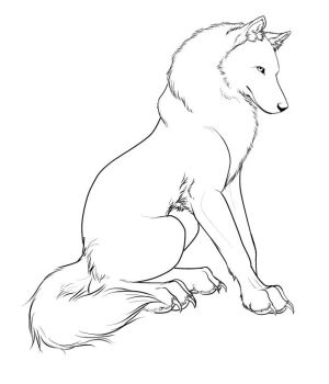 Wolf Character Design Lineart by CrimsonWolfSobo