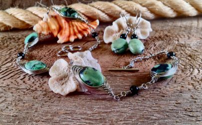 Wire-wrapped jasper set 2 by copper9lives