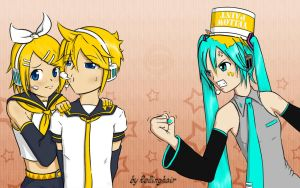 Kagamine vs Hatsune by rollinghair