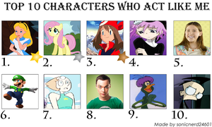 My Top 10 Characters Who Act Like Me by Kitty-McGeeky97