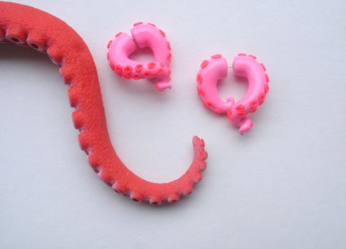 Hello Kitty Tentacle Earring Fake Gauge by cashewed-almonds