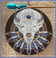 Heart of the White Buffalo Spirit Drum by ssantara