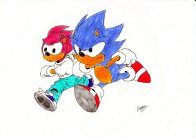 STC Sonic and Amy by GhostLiger