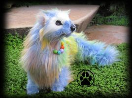 SOLD Prism the technicolour ferret! GLOWING by CreaturesofNat