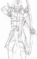 Sketch of Connor armed with bow and arrow by ArteSusanna