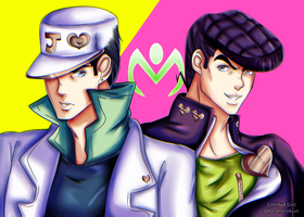 (JJBA:DIU) Jotaro and Josuke by Shiinashi