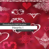 Hearts Photoshop and GIMP Brushes by redheadstock