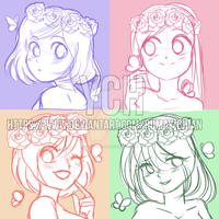 (YCH auction Headshots) Cute flower girls -CLOSED by Rumay-Chian