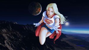 Supergirl Wallpaper Over Mountain Range by Curtdawg53