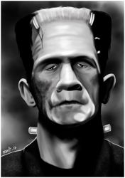 Caricature of Frankenstein by jpaolonovelli