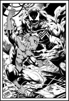 Spiderman Vs Venom By Marcio Abreu by JDB-Inks