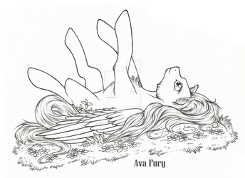 Fluttershy on grass-lineart by ZiraAvaFury