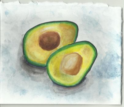 Avocado in Watercolor by moonfluff