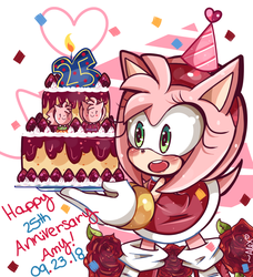 Happy 25th Anniversary Amy Rose! by chibiirose