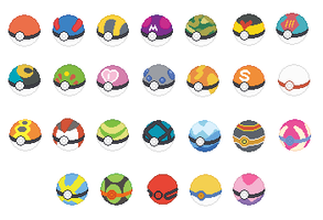 Poke Ball Base Set by SelenaEde