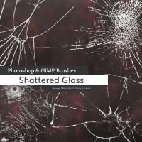 Shattered Glass Photoshop and GIMP Brushes by redheadstock