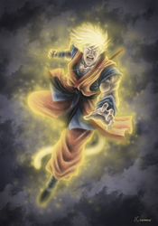 Digital Paint | Son Goku from Dragon Ball by Aethereo