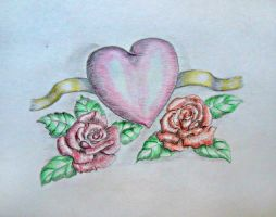 Roses with Heart by 123thuraya