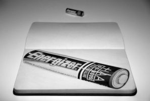 Energizer Battery Still Life Drawing by Rollingboxes