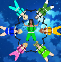 Elizuke and the Nintendo girls in skydiving form by HelizukeWolfknight