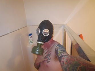 Gas Mask In the bathroom 3 by XxGasMaskPhantomXx