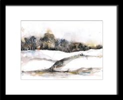 Early Snow - original watercolor painting by artual