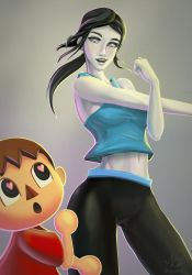 Villager and Wii Fit Trainer by Ziggafee