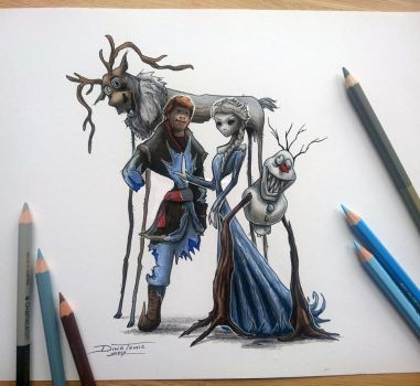 Creepyfied Frozen drawing by AtomiccircuS