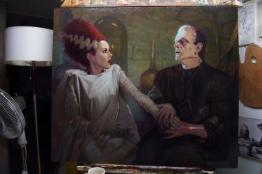 THE BRIDE OF FRANKENSTEIN OIL PAINTING by OLDSCHOOLDAN
