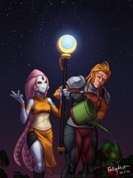 Starbound: Lunesce and Solfrid by FallingMist