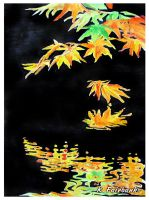 Falling Leaf Reflection (watercolor painting) by kfairbanks