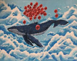 Whale + Balloons by nhimopaints