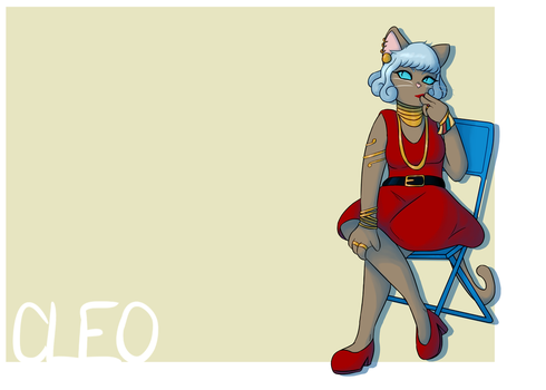cat lady tries to look fancy on a folding chair by Byakuzaya100102