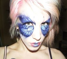 blue butterfly makeup by Ryo-Says-Meow
