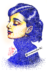 Audrey Hepburn -  Pointillism Coloured - NO. 002 by anime-master-96