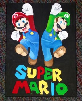 Mario and Luigi Painting in acrylic by Canvas--colors