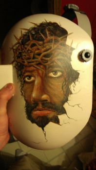 Portrait of Christ on Friend's Welding Helmet by TheVise