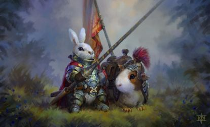 Bunny Knight and Quinny Pig steed by KJKallio