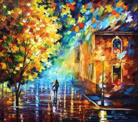 Romantic Stroll by Leonid Afremov by Leonidafremov