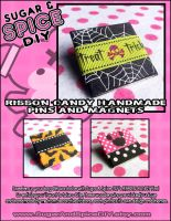RIBBON CANDY Handmade Pins and Magnets by wickedland