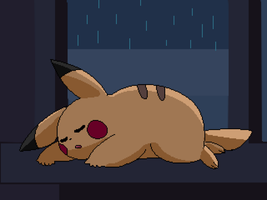 Pikachu sleeping. by RozuPandy