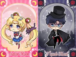 Sailor Moon and Tuxedo Mask by StarMasayume