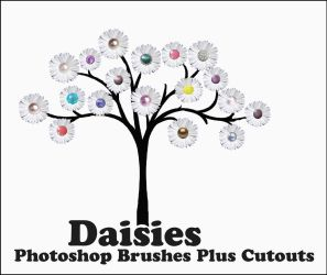 Daisies Brushes Plus Cutouts by ibjennyjenny
