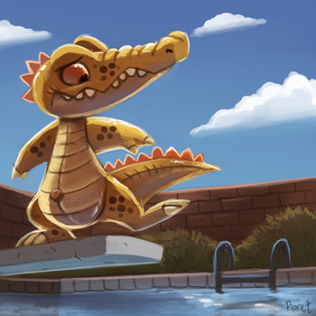 DAY 154. Pool Gator (35 Minutes) by Cryptid-Creations