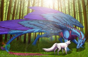 The wolf and the dragon by Xhynos