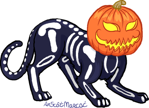 Pixelly Pumpkin Cat by AnScathMarcach