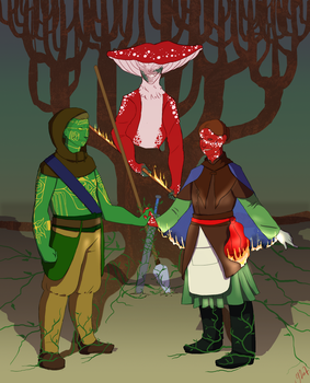 Forest Song + Lake Shadow - Impact LARP Commission by IllustratedJai