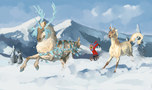 Grinch on sled with booze just passing by... by Memuii