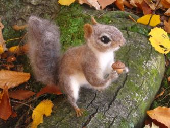 Needle Felted Gray Squirrel by HStiLeS